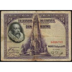 Espagne - Pick 76a - 100 pesetas - 15/08/1928 - Sans série - Etat : TB-