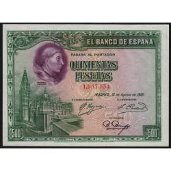 Espagne - Pick 77a - 500 pesetas - 15/08/1928 - Sans série - Etat : SPL+