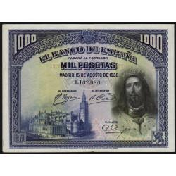 Espagne - Pick 78a - 1'000 pesetas - 15/08/1928 - Sans série - Etat : TTB+