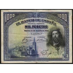 Espagne - Pick 78a - 1'000 pesetas - 15/08/1928 - Sans série - Etat : TB