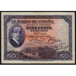 Espagne - Pick 80 - 50 pesetas - 1931 - Sans série - Etat : TTB