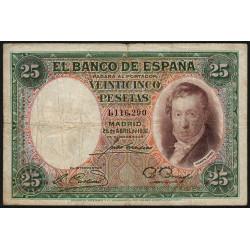 Espagne - Pick 81 - 25 pesetas - 25/04/1931 - Sans série - Etat : TB