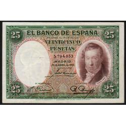 Espagne - Pick 81 - 25 pesetas - 25/04/1931 - Sans série - Etat : TTB+