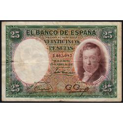 Espagne - Pick 81 - 25 pesetas - 1931 - Sans série - Etat : TB+