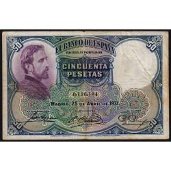 Espagne - Pick 82 - 50 pesetas - 25/04/1931 - Sans série - Etat : TB