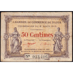 Dijon - Pirot 53-1 - 50 centimes - Sans série - 02/08/1915 - Etat : TB-