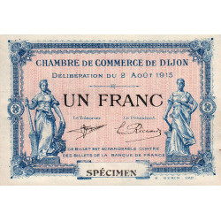Dijon - Pirot 53-05 - 1 franc - Spécimen - Etat : SUP+