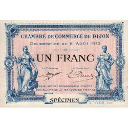 Dijon - Pirot 53-5 - 1 franc - Sans série - 02/08/1915 - Spécimen - Etat : SUP+