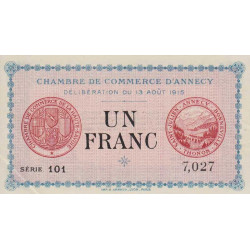 Annecy - Pirot 10-1 - 1 franc - 1915 - Etat : SPL