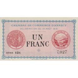 Annecy - Pirot 10-1 - 1 franc - Série 101 - 13/08/1915 - Etat : SPL