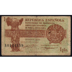 Espagne - Pick 94 - 1 peseta - 1937 - Série A - Etat : B+