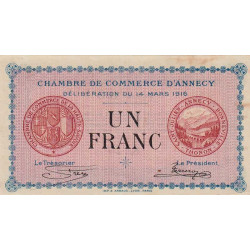Annecy - Pirot 10-5 - 1 franc - 1916 - Etat : TTB