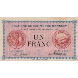 Annecy - Pirot 10-5 - 1 franc - Série 193 - 14/03/1916 - Etat : TTB