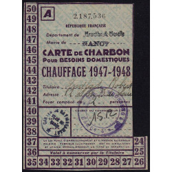 54-Nancy - Rationnement - Charbon - 1947 - Carte A - Etat : TTB+