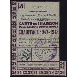 Rationnement - Charbon - 1947 - Carte A - Nancy (54) - Etat : TTB+