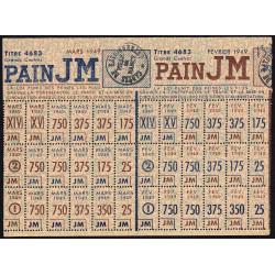 54-Nancy - Rationnement - Pain - Titre 4683 - 02/1949 et 03/1949 - Catégories JM - Etat : SUP