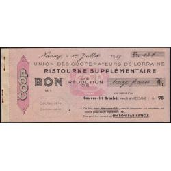 54 - Nancy - Union des Coopérateurs de Lorraine - Bon - 13 francs - 1939 - Etat : SUP