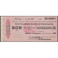 54 - Nancy - Union des Coopérateurs de Lorraine - Bon - 75 francs - 1939 - Etat : SUP