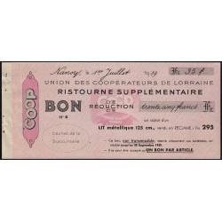 54 - Nancy - Union des Coopérateurs de Lorraine - Bon - 35 francs - 1939 - Etat : SUP