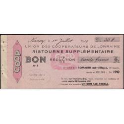 54 - Nancy - Union des Coopérateurs de Lorraine - Bon - 30 francs - 1939 - Etat : SUP