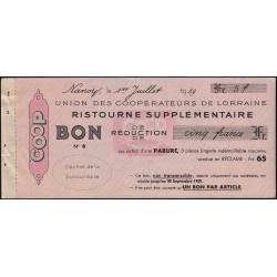 54 - Nancy - Union des Coopérateurs de Lorraine - Bon - 5 francs - 1939 - Etat : SUP