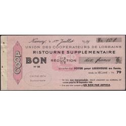 54 - Nancy - Union des Coopérateurs de Lorraine - Bon - 10 francs - 1939 - Etat : SUP