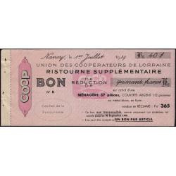 54 - Nancy - Union des Coopérateurs de Lorraine - Bon - 40 francs - 1939 - Etat : SUP
