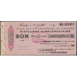 54 - Nancy - Union des Coopérateurs de Lorraine - Bon - 25 francs - 1939 - Etat : SUP