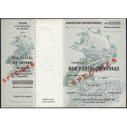 Bon postal de voyage - 1948 - Spécimen - Etat : SPL