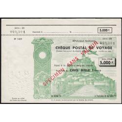 Chèque postal de voyage - 5000 francs - 1953 - Spécimen - Etat : SUP+