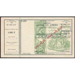 Mandat Lettre de Crédit - 1000 francs - 1950 - Spécimen - Etat SUP+