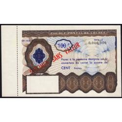 Chèque postal de voyage - 100 francs - 1965 - Spécimen - Etat : SPL