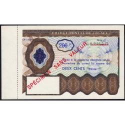 Chèque postal de voyage - 200 francs - 1965 - Spécimen - Etat : SPL
