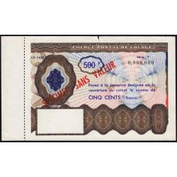 Chèque postal de voyage - 500 francs - 1965 - Spécimen - Etat : TTB