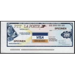Chèque de voyage - La Poste - 200 francs - 1987 - Spécimen - Etat : SPL