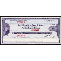 Société Française du chèque de voyage - 100 francs - 1985 - Spécimen - Etat : pr.NEUF
