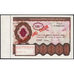 Chèque postal de voyage - 100 francs - 1963 - Spécimen - Etat : SPL