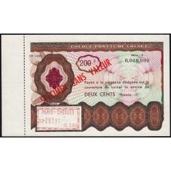 Chèque postal de voyage - 200 francs - 1963 - Spécimen - Etat : SPL