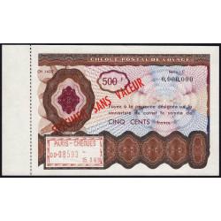 Chèque postal de voyage - 500 francs - 1963 - Spécimen - Etat : SPL