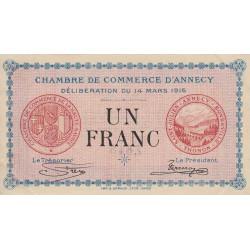 Annecy - Pirot 10-5 - 1 franc - 1916 - Etat : SUP