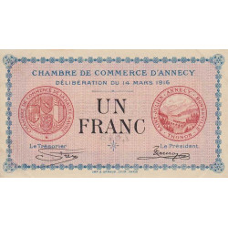 Annecy - Pirot 10-5 - 1 franc - Série 164 - 14/03/1916 - Etat : SUP
