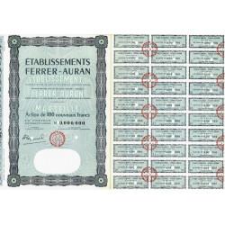 13 - Marseille - Etabl. Ferrer-Auran - 100 NF - 1962 - Spécimen - SUP+