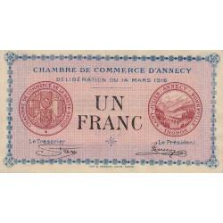 Annecy - Pirot 10-5 - 1 franc - 1916 - Etat : SPL