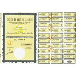 Société de Gestion Sélective - 100 NF - 1962 - Spécimen - SUP+