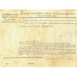 Seine - Paris - Louis XVI - Emprunt royal de 1779 - 9% sur 2 têtes - Etat : TTB