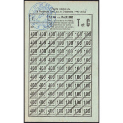 80-Nesle - Rationnement - Pain - 1940 - Cat. T et C - Etat : SUP+