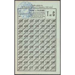 Rationnement - Pain - 1940 - Catégorie T et C - Feuille vérificatrice - Nesle (80) - Etat : SUP