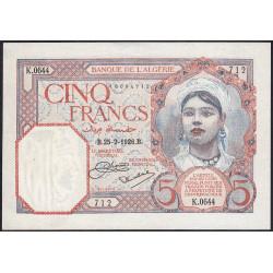 Algérie - Pick 77a_1 - 5 francs - 25/02/1926 - Etat : SUP+