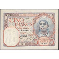 Algérie - Pick 77a_1 - 5 francs - 14/08/1928 - Etat : SUP-