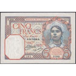 Algérie - Pick 77a_1 - 5 francs - 23/071929 - Etat : SUP